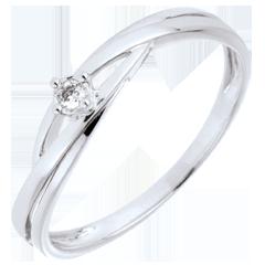Pierścionek Drogocenne Gniazdo z jednym diamentem - Dova - złoto białe 9-karatowe - diament 0,03 karata