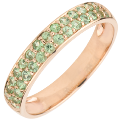 Ring Bird of Paradise - two lines - rose gold and tsavorite