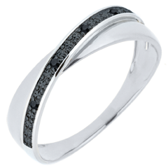 Alliance Saturne Duo - diamants noirs - 9 carats