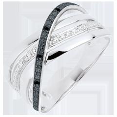 Ring Saturnus Vierling - 9 karaat witgoud - zwarte en witte Diamanten - 9 karaat