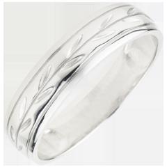 Freshness wedding ring - Palm variation engraved white gold - 18 carat
