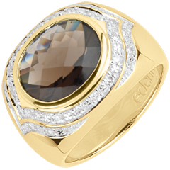 Anello Horus Quarzo fum� - Argento, diamanti e pietre dure