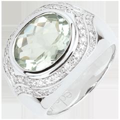 Anello Horus Ametista verde - Argento, diamanti e pietre dure