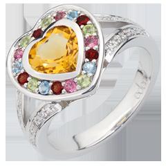 Anello Cuore delle Meraviglie - Argento, diamanti e pietre dure