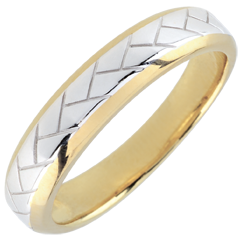 White Gold and Yellow Gold Weave Wedding Band - 18 carats