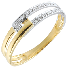 Bague Union Tandem bicolore - or blanc et or jaune 9 carats