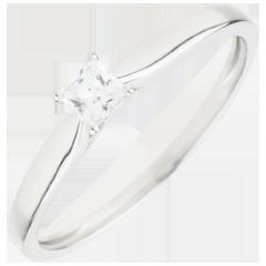 Anello Solitario Rivelazione - diamante Principessa 4 Griffe