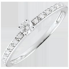 Bague de Fiançailles Or Blanc Solitaire diamant Boréale - 0.09 carat