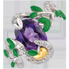 Anello Passeggiata Immaginaria - Serpente dell'éden   -   Argento, diamanti e pietre dure