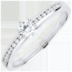 Bague de Fiançailles Or Blanc Solitaire Divine 6 griffes - diamant 0.16 carat