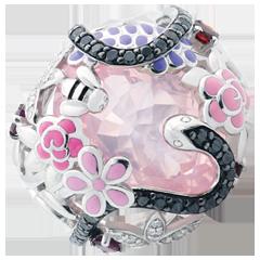 Anello Passeggiata Immaginaria -Paradiso rosa   -   Argento, diamanti e pietre dure.