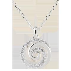 Naszyjnik Spirala Miłości z białego złota 9-karatowego