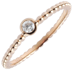 Solitaire Ring Fleur de Sel - een ring - rozégoud - 0,08 karaat - 9 karaat goud