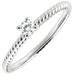 Bague Solitaire Corde d'or - or blanc
