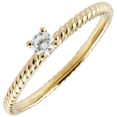 Bague Solitaire Corde d'or - or jaune
