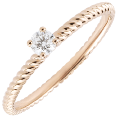 Bague Solitaire Corde d'or - or rose