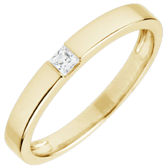 Bague Solitaire Epure - diamant Princesse 0.08 carats - or jaune 18 carats