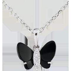 Pendentif Clair Obscur - Papillon d'Onyx - or blanc 9 carats