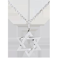 Colgante Estrella de David - oro blanco