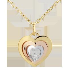 Colgante Corazón Pastel - tres oros 9 quilates