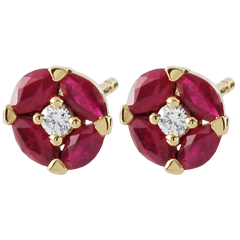 Boucles d'oreilles Coquelicots - or jaune 9 carats