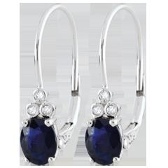 Oorbellen Exquise - Saffier en Diamanten - 9 karaat witgoud