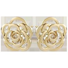Pendientes Eclosión - Flores Costura - pendientes cortos - oro amarillo 9 quilates