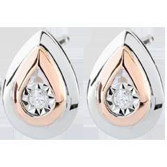 Boucles d'oreilles Larmes d'antilope - puces or blanc et or rose 9 carats