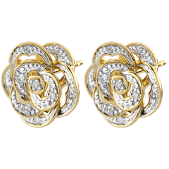 Ohrringe Frische - Bestickte Rose - Weißgold, Gelbgold und Diamanten