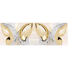 Oorbellen Dagdromen - Vlinderwaterval - 9 karaat witgoud en geelgoud met Diamanten