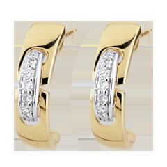 Boucles d'oreilles Union Eternelle - or blanc et or jaune 9 carats