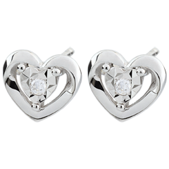 White Gold Small Heart Earrings