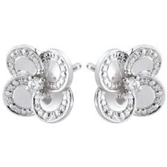 Boucles d'oreilles Éclosion - Trèfle Blanc - or blanc 9 carats et diamants