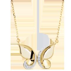 Naszyjnik Spacer w Wyobraźni - Motyl Kaskada - złoto białe i złoto żółte 9-karatowe