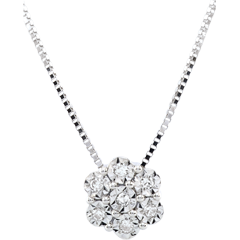 Naszyjnik Świeżość - Płatkowy Kwiat - 7 diamentów i białe złoto 9-karatowe