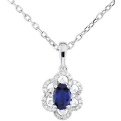 Pendentif Marguerite Princesse - saphir - or blanc 9 carats