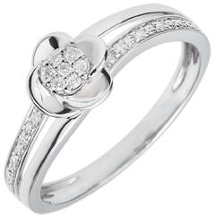Bague de fiançailles or blanc Pétales de Rose - 0.075 carat