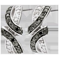 Boucles d'oreilles Clair Obscur - Rendez-vous - diamants noirs - or blanc 9 carats