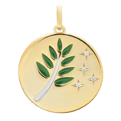 Médaille Rameau d'Olivier - Laque verte - 4 Diamants - or blanc et or jaune 9 carats