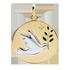 Medalik Gołębica na gałęzi - Zielona laka - 1 diament - złoto białe i złoto żółte 9-karatowe