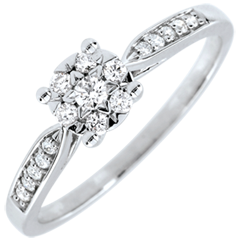 Anello Reale giunco sfera pavé - Oro bianco - 18 carati - 17 Diamanti - 0.18 carati - Diamante centrale - 0.12 carati