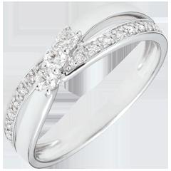 Anello di fidanzamento Trilogia Nido Prezioso - Auréa - oro bianco - 0.18 carati - 9 carati