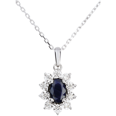 Halsketting Eeuwige Edelweiss - Marguerite Illusie - Saffier en Diamanten - 9 karaat witgoud
