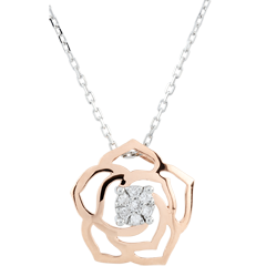 Collier Fraicheur - Rose Absolue - or blanc et or rose 9 carats