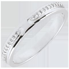 Alliance Promesse - or blanc et diamants - petit modèle - 18 carats
