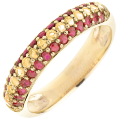 Anello Bandiera spagnola - oro e pietre preziose