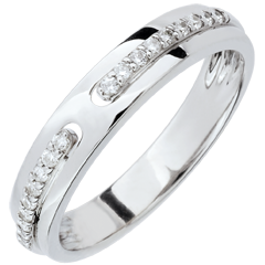 Alliance Promesse - or blanc et diamants - grand modèle - 18 carats