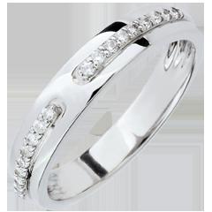 Alliance Promesse - or blanc et diamants - grand modèle - 18 carats