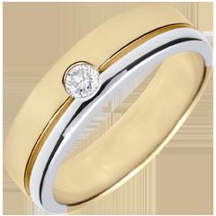 Fede Olympia-Diamante - Grande modello-bicolore