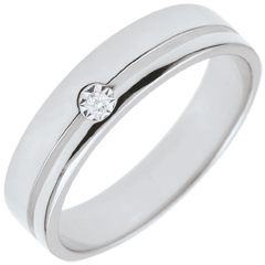 Fede Olympia Diamante - Modello medio-oro bianco